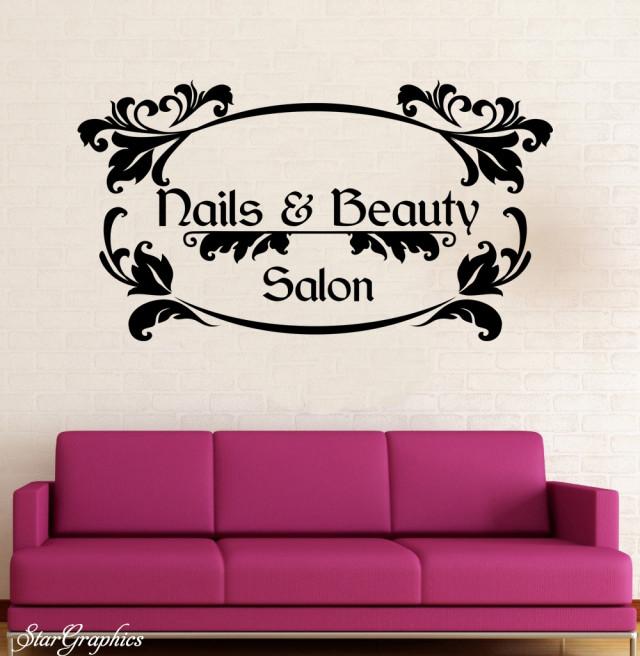 Nails & Beauty Wall Art Sticker Hair Beauty Salon Hairdresser Decal