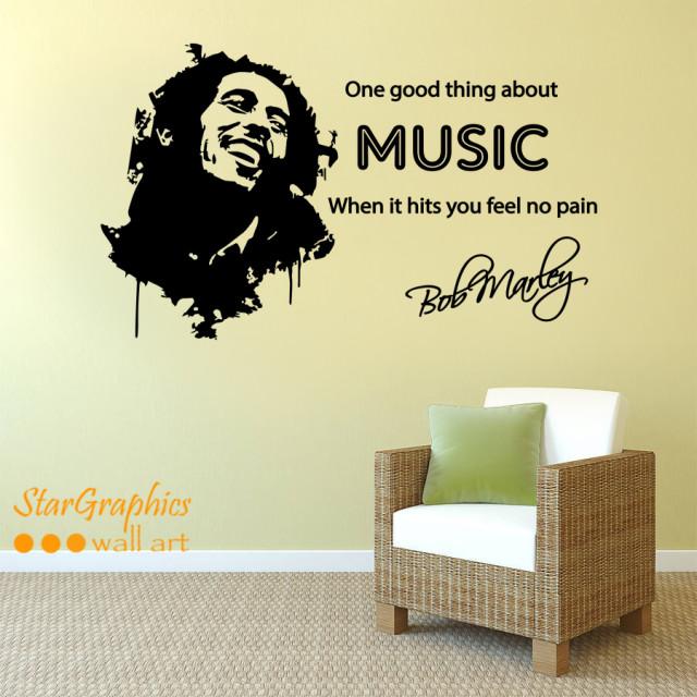 BOB MARLEY MUSIC SONG LYRICS Quote Wall Art Vinyl Decal Sticker Mural