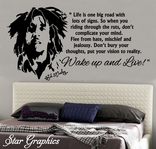 Bob marley wake up and live famous wall art quote vinyl for Bob marley wall mural