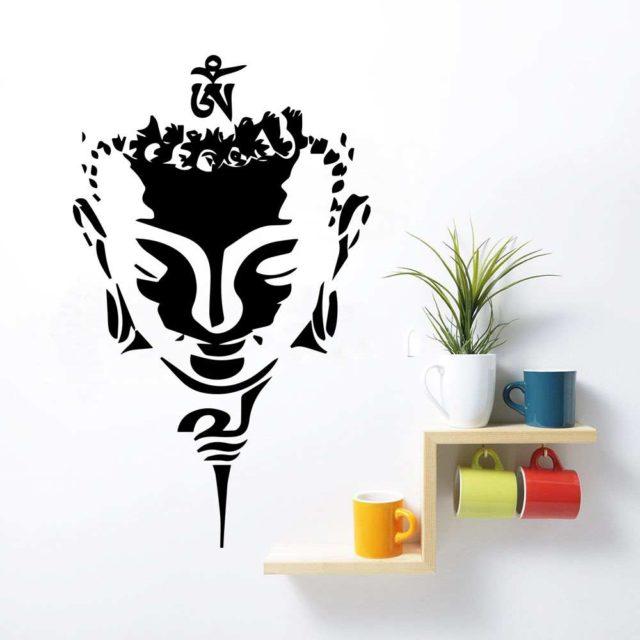 Buddha Head Wall Art Quote Vinyl Decal Sticker Mural Bedroom Decoration Wedding Birthday Anniversary Gift DIY