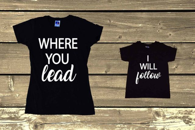 Matching Mom Daughter Son Shirts Where You Lead I Will Follow Mommy And Me Mom And Daughter Son Top Gift Parenting Graphic Tees Family Clothing