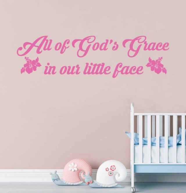 All Of God's Grace In Our Little Face Hibiscus Flowers Wall Art Quote Vinyl Decal Sticker Wall Mural Kids Bedroom Decoration