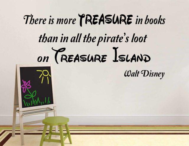 Disney Treasure Island Inspired Pirate Books Wall Art Quote Vinyl Decal Sticker Wall Mural Decoration